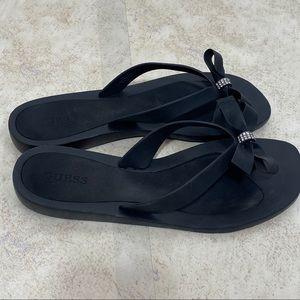 Guess Black Bling Bow Flip Flops Size 10